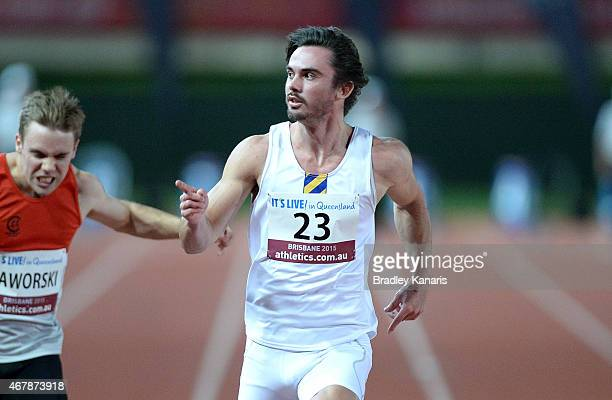 Joshua Clarke celebrates winning the final of the Men's 100m event during the Australian Athletics Championships at the Queensland Sports and...