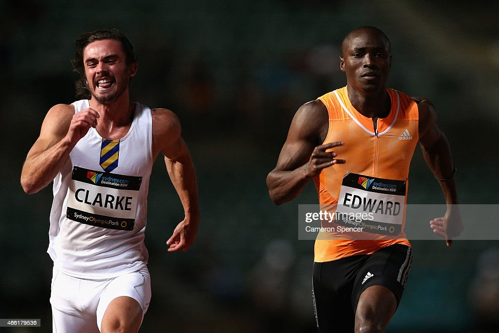 Joshua Clarke of New South Wales and <a gi-track='captionPersonalityLinkClicked' href=/galleries/search?phrase=Alonso+Edward&family=editorial&specificpeople=6147378 ng-click='$event.stopPropagation()'>Alonso Edward</a> of Panama compete in the mens 100m final during the Sydney Track Classic at Sydney Olympic Park on March 14, 2015 in Sydney, Australia.