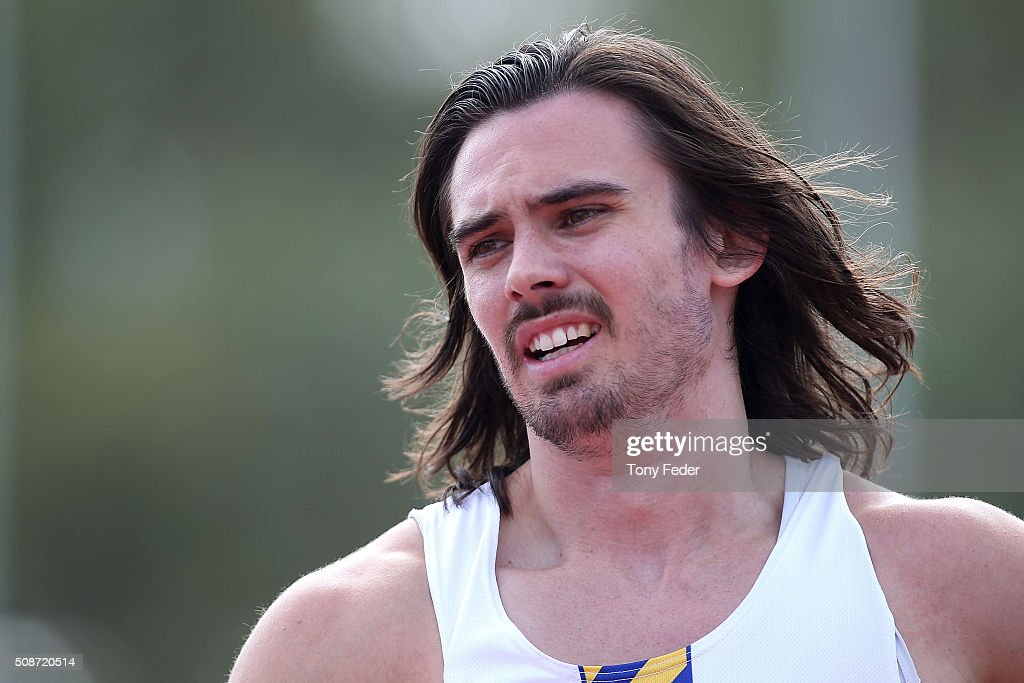 Joshua Clarke of NSW wins the mens 100 metres final during the IPC Athletics Grand Prix on February 6, 2016 in Canberra, Australia.