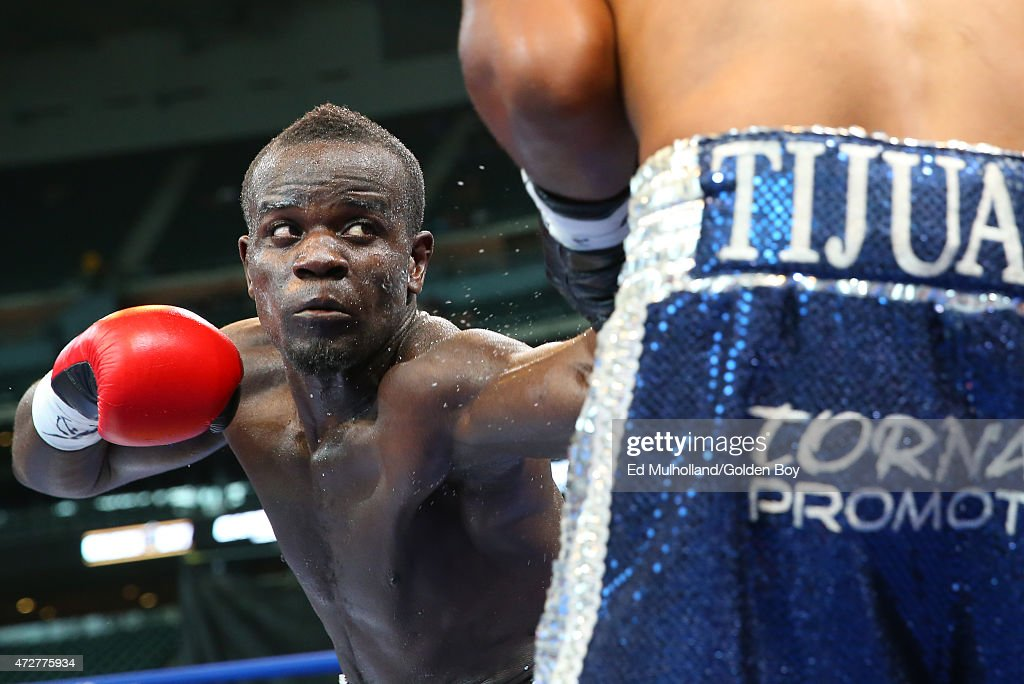 Joshua Clottey and Jorge Silva during their 10 round super welterweight fight at Minute Maid Park on May 9 2015 in Houston Texas