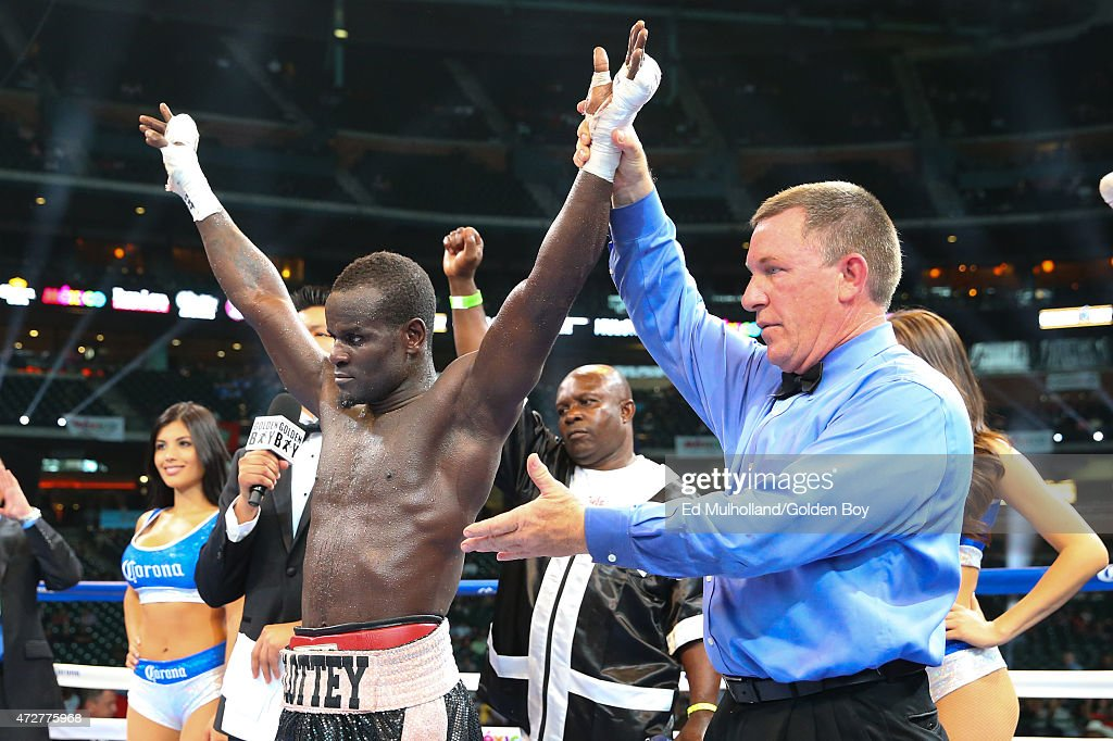 Joshua Clottey celebrates his 10 round win over Jorge Silva at Minute Maid Park on May 9 2015 in Houston Texas