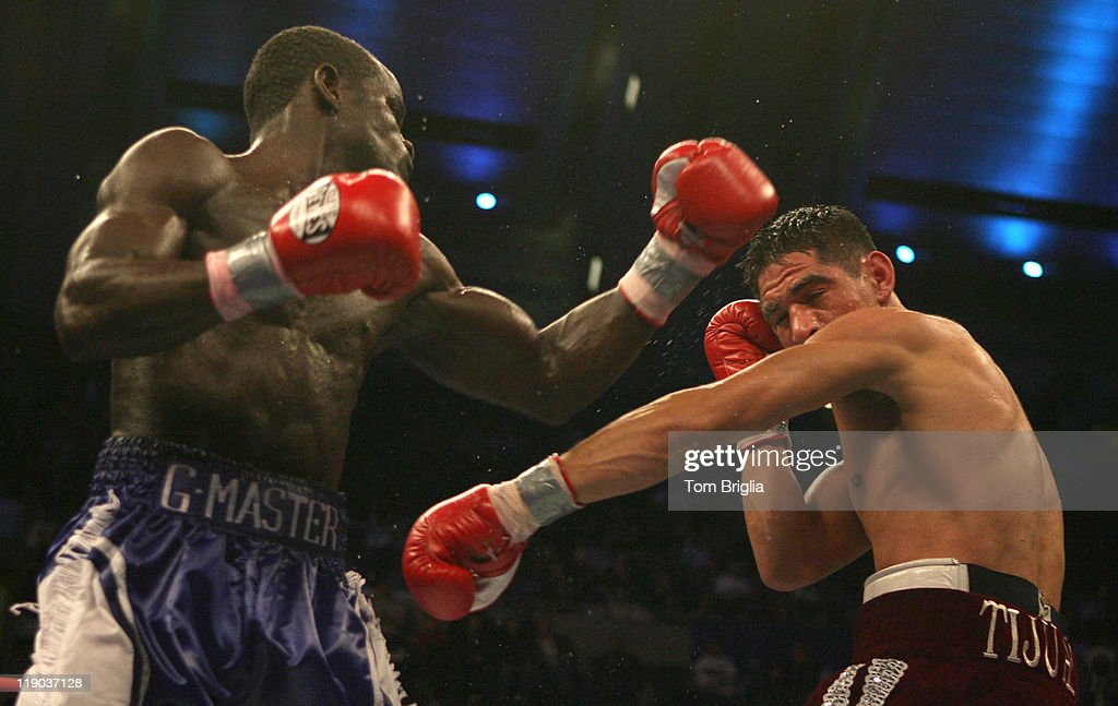 Joshua Clottey lands a punch on Antonio Margarito at Boardwalk Hall in Atlantic City New Jersey on Dec 2 2006