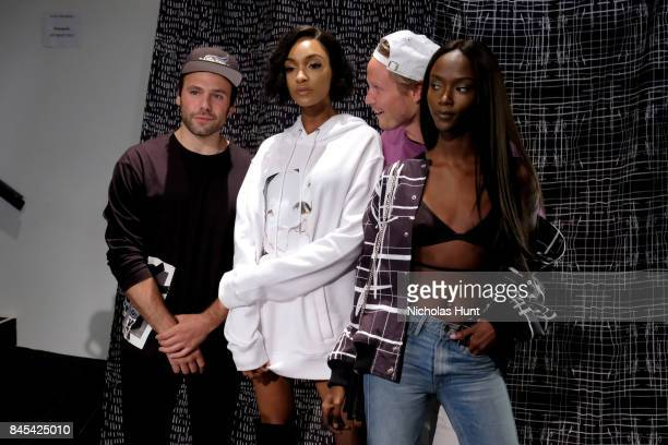 Joshua Cooper Jourdan Dunn Laurence Chandler and guest pose backstage for Rochambeau fashion show during New York Fashion Week The Shows at Gallery 1...