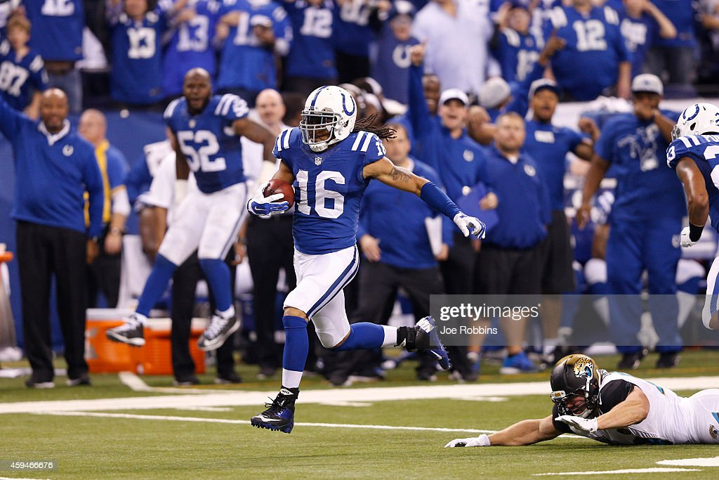 Joshua Cribbs of the Indianapolis Colts runs a punt back for a touchdown in the second half of the game against the Jacksonville Jaguars at Lucas Oil...