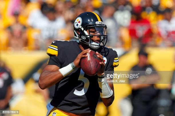 Joshua Dobbs of the Pittsburgh Steelers drops back to pass against the Atlanta Falcons during a preseason game at Heinz Field on August 20 2017 in...