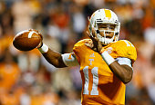 Joshua Dobbs of the Tennessee Volunteers against the Alabama Crimson Tide at Neyland Stadium on October 25 2014 in Knoxville Tennessee