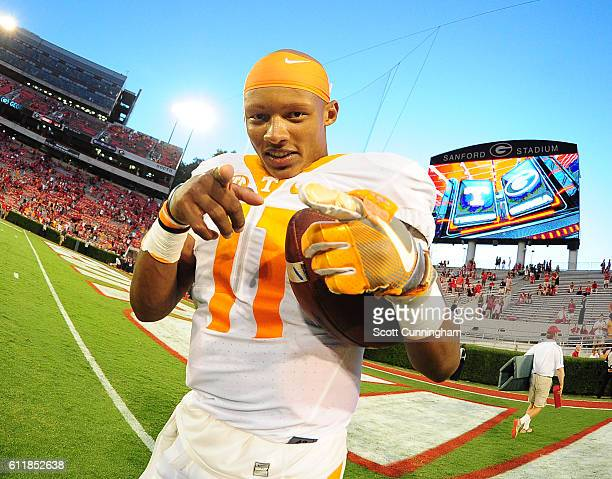 Joshua Dobbs of the Tennessee Volunteers celebrates after the game against the Georgia Bulldogs at Sanford Stadium on October 1 2016 in Athens Georgia