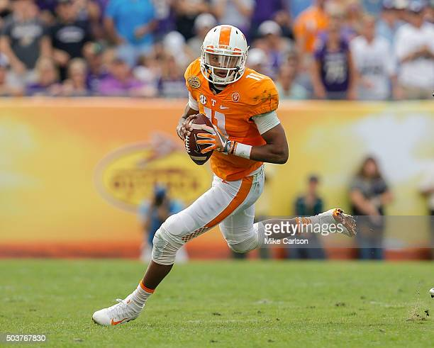 Joshua Dobbs of the Tennessee Volunteers during the Outback Bowl against the Northwestern Wildcats at Raymond James Stadium on January 1 2016 in...