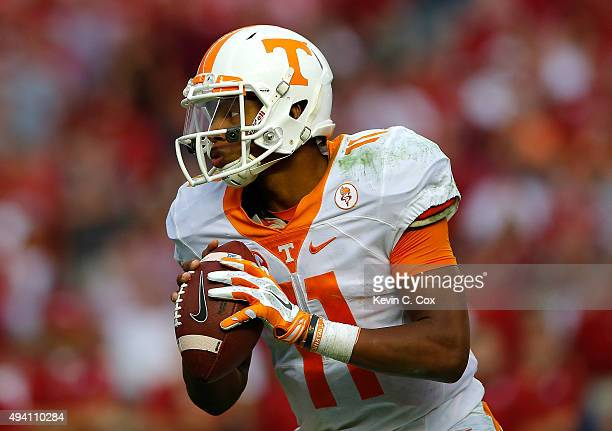 Joshua Dobbs of the Tennessee Volunteers looks to pass against the Alabama Crimson Tide at BryantDenny Stadium on October 24 2015 in Tuscaloosa...