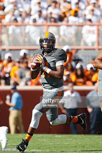 Joshua Dobbs of the Tennessee Volunteers looks to pass against the Florida Gators in the first quarter at Neyland Stadium on September 24 2016 in...