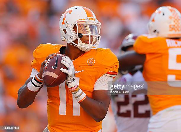 Joshua Dobbs of the Tennessee Volunteers looks to pass against the Alabama Crimson Tide at Neyland Stadium on October 15 2016 in Knoxville Tennessee