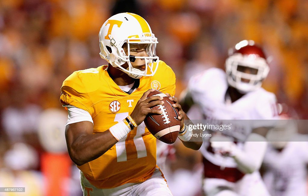 Joshua Dobbs of the Tennessee Volunteers looks to pass the ball against the Oklahoma Sooners during the game at Neyland Stadium on September 12 2015...