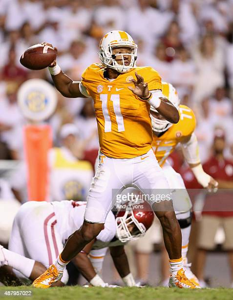 Joshua Dobbs of the Tennessee Volunteers throws a pass against the Oklahoma Sooners during the game at Neyland Stadium on September 12 2015 in...