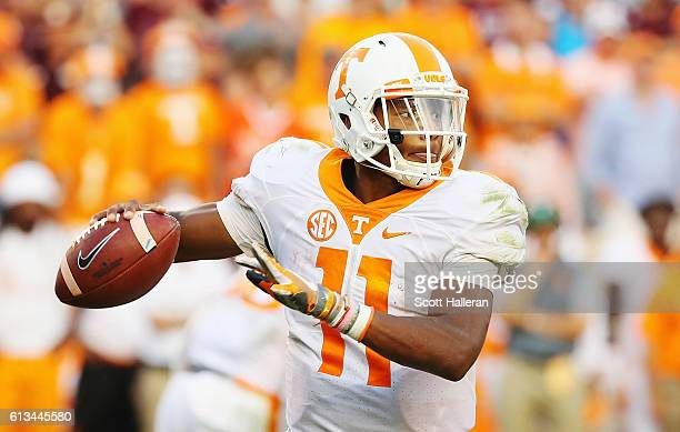 Joshua Dobbs of the Tennessee Volunteers throws a pass in the second half of their game against the Texas AM Aggies at Kyle Field on October 8 2016...