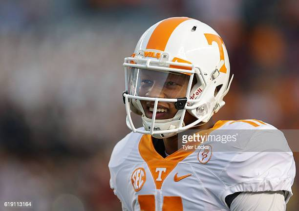Joshua Dobbs of the Tennessee Volunteers warms up prior to their game against the South Carolina Gamecocks at WilliamsBrice Stadium on October 29...