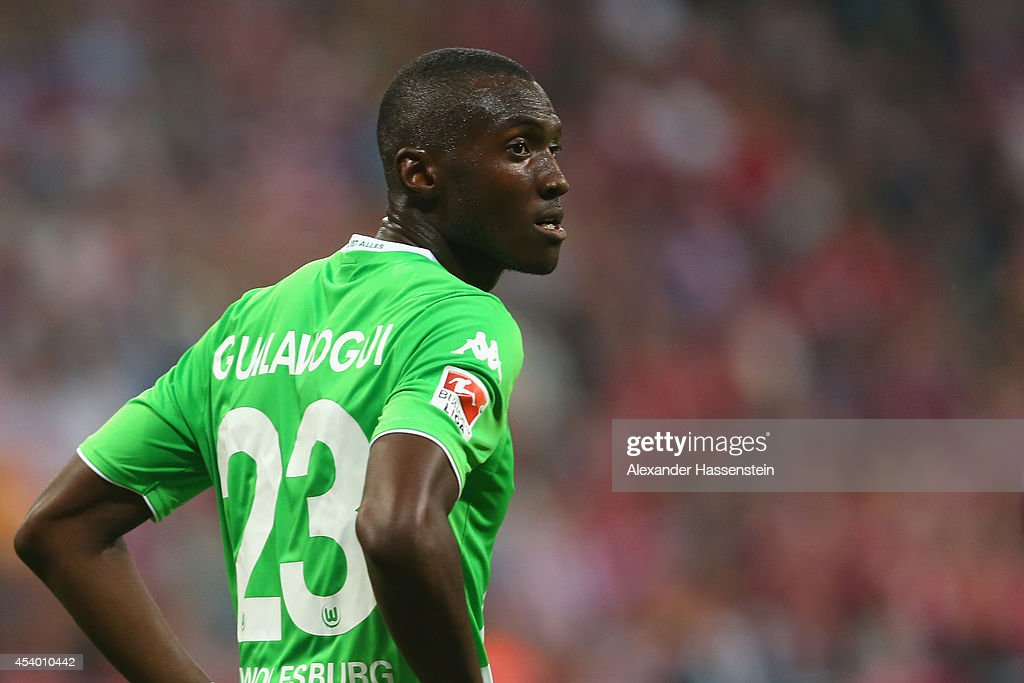 Joshua Guilavogui of Wolfsburg looks on during the Bundesliga match between FC Bayern Muenchen and VfL Wolfsburg at Allianz Arena on August 22, 2014 in Munich, Germany.