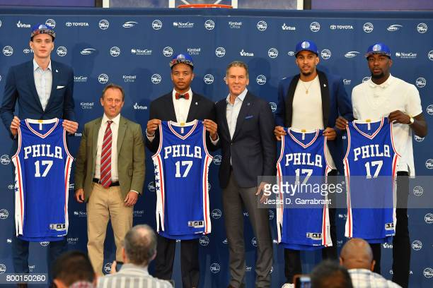 Joshua Harris and Bryan Colangelo introduce the Philadelphia 76ers draftees at a press conference announcing Anzejs Pasecniks Markelle Fultz Jonah...
