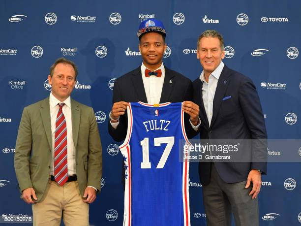 Joshua Harris and Bryan Colangelo of the Philadelphia 76ers introduce the overall number one pick Markelle Fultz at the Sixers Training Complex on...