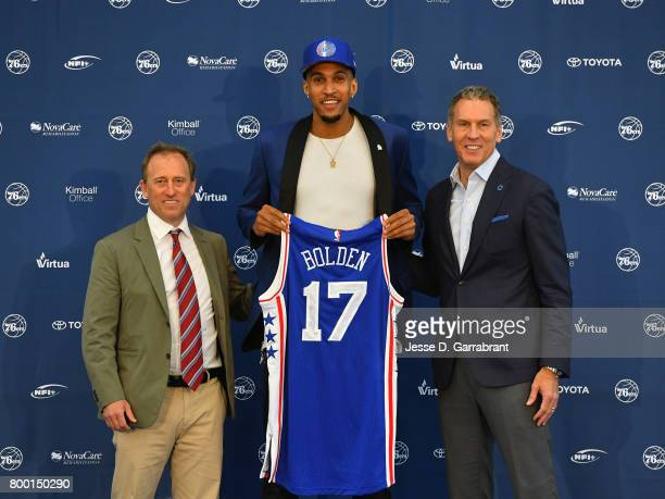 Joshua Harris and Bryan Colangelo of the Philadelphia 76ers introduce their new draftee Jonah Bolden at the Sixers Training Complex on June 23 2017...