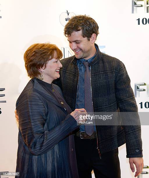 Joshua Jackson and Blair Brown share a laugh on the red carpet while attending 'Fringe' celebrates 100 episodes and final season at Fairmont Pacific...