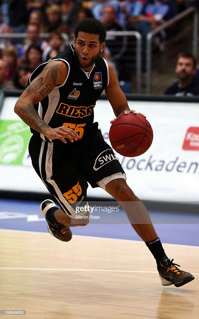 Joshua Jackson of Ludwigsburg runs with the ball during the Beko BBL basketball match between Eisbaeren Bremerhaven and Nackar RIESEN Ludwigsburg at the Stadthalle on November 4, 2012 in Bremerhaven, Germany.