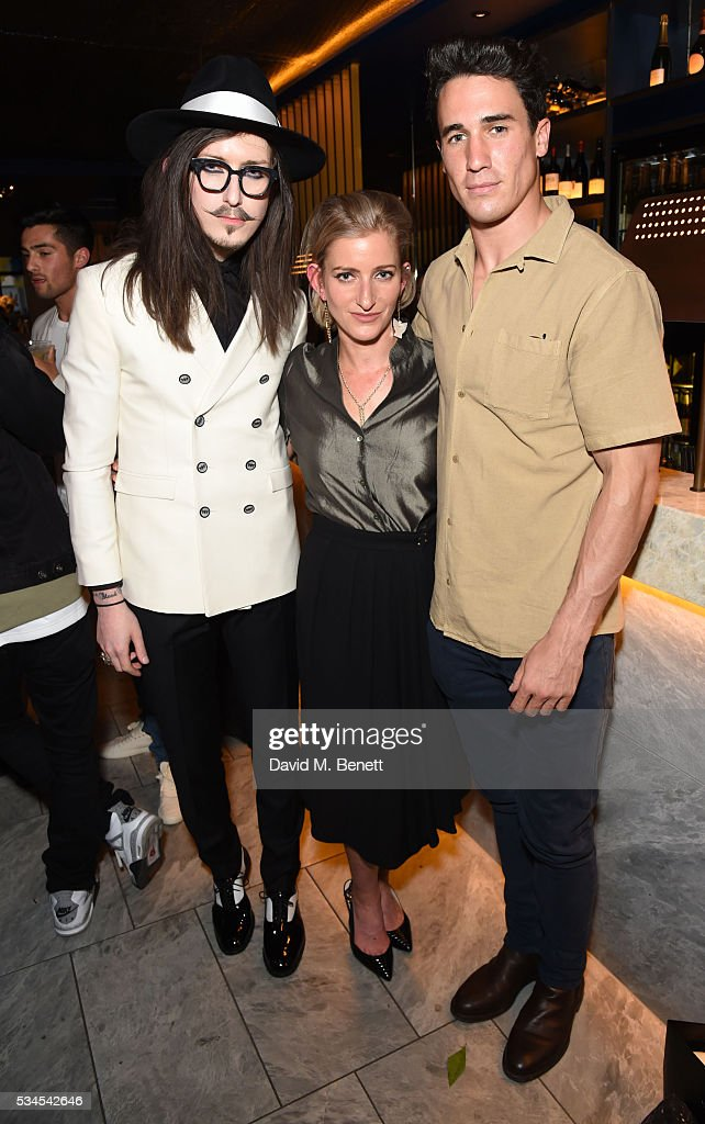 Joshua Kane, Hannah Kane and Josh Patterson attend an Influencers Dinner hosted by PHOENIX Magazine to celebrate their brand relaunch at Patara on May 26, 2016 in London, England.