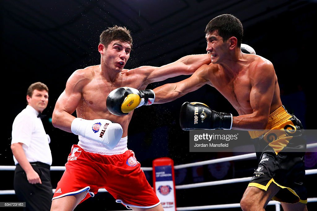 Joshua Kelly of British Lionhearts (L) in action against Aslanbek Shymbergenov of Astana Arlans (R) in the semi-final of the World Series of Boxing between the British Lionhearts and Kazakhstan at York Hall on May 27, 2016 in London, England.