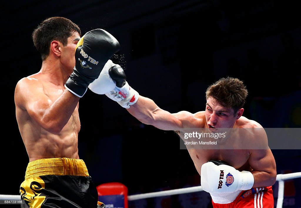 Joshua Kelly of British Lionhearts (R) in action against Aslanbek Shymbergenov of Astana Arlans (L) in the semi-final of the World Series of Boxing between the British Lionhearts and Kazakhstan at York Hall on May 27, 2016 in London, England.