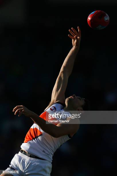 Joshua Kelly of the Giants marks the ball during the round 16 AFL match between the Hawthorn Hawks and the Greater Western Sydney Giants at...