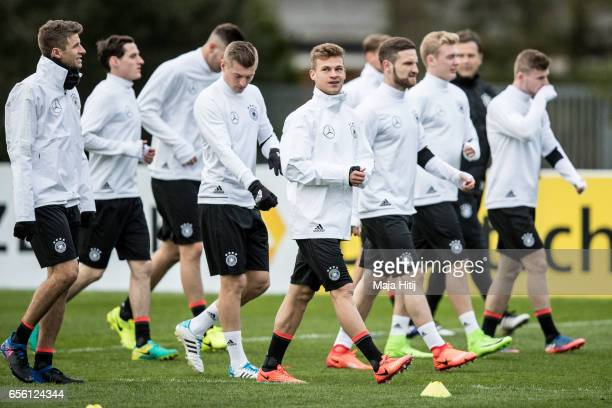 Joshua Kimmich and German national team are seen during training ahead of the international friendly match against England at on March 21 2017 in...