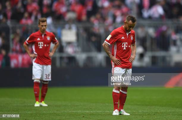 Joshua Kimmich and Rafinha of Bayern Muenchen look on after the Bundesliga match between Bayern Muenchen and 1 FSV Mainz 05 at Allianz Arena on April...