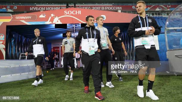 Joshua Kimmich and team mates walk out of the tunnel for a Germany training session during the FIFA Confederations Cup Russia 2017 at Fisht stadium...