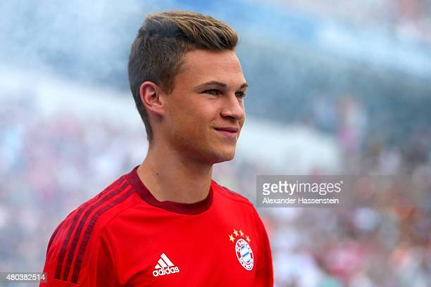 Joshua Kimmich arrives for the FC Bayern Muenchen season opening and team presentation at Allianz Arena on July 11 2015 in Munich Germany