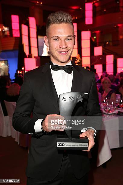 Joshua Kimmich FC Bayern Muenchen soccer player with award during the 10th Audi Generation Award 2016 at Hotel Bayerischer Hof on December 7 2016 in...