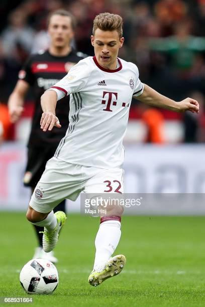 Joshua Kimmich of Bayern controls the ball during the Bundesliga match between Bayer 04 Leverkusen and Bayern Muenchen at BayArena on April 15 2017...