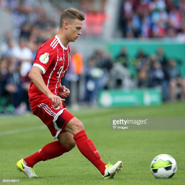 Joshua Kimmich of Bayern Muenchen am Ball controls the ball during the DFB Cup first round match between Chemnitzer FC and FC Bayern Muenchen at...