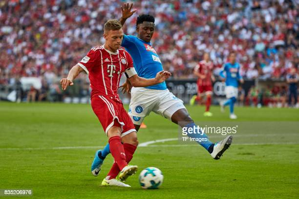 Joshua Kimmich of Bayern Muenchen and Amadou Diawara of Napoli battle for the ball during the Audi Cup 2017 match between SSC Napoli and FC Bayern...