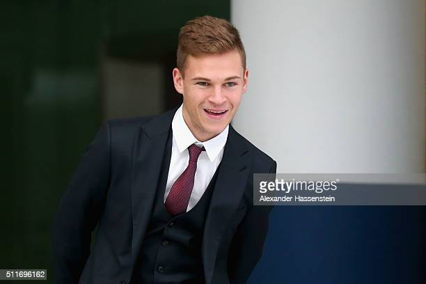 Joshua Kimmich of Bayern Muenchen arrives with the team at Munich International Airport FranzJosefStrauss to depart of the UEFA Champions League...