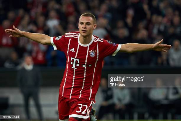 Joshua Kimmich of Bayern Muenchen celebrates after scoring his team`s second goal during the UEFA Champions League group B match between Bayern...