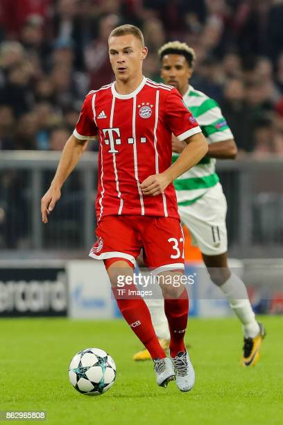Joshua Kimmich of Bayern Muenchen controls the ball during the UEFA Champions League group B match between Bayern Muenchen and Celtic FC at Allianz...