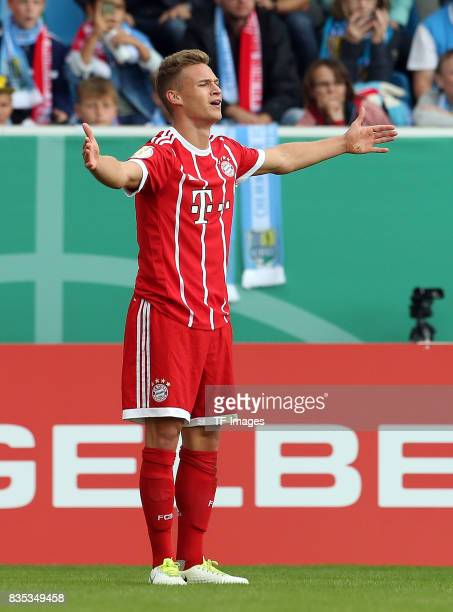 Joshua Kimmich of Bayern Muenchen gestures during the DFB Cup first round match between Chemnitzer FC and FC Bayern Muenchen at community4you Arena...