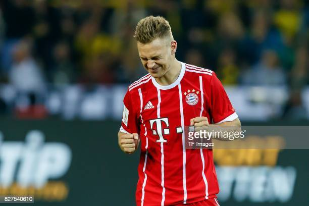 Joshua Kimmich of Bayern Muenchen gestures during the DFL Supercup 2017 match between Borussia Dortmund and Bayern Muenchen at Signal Iduna Park on...