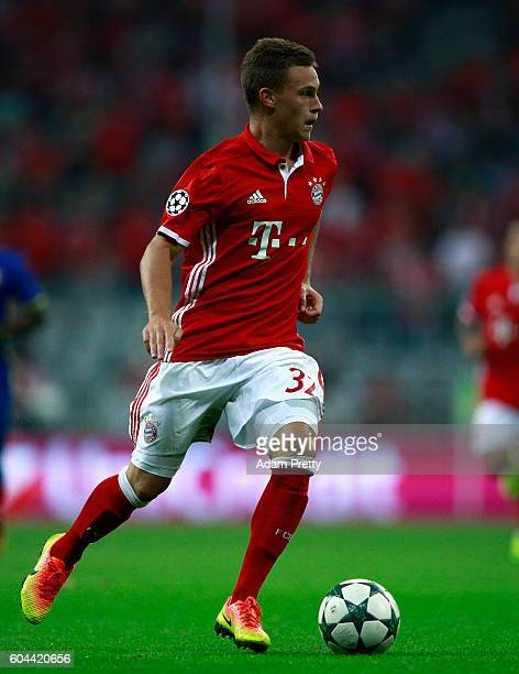 Joshua Kimmich of Bayern Muenchen in action during the UEFA Champions League Group D match between FC Bayern Muenchen and FC Rostov at Allianz Arena...