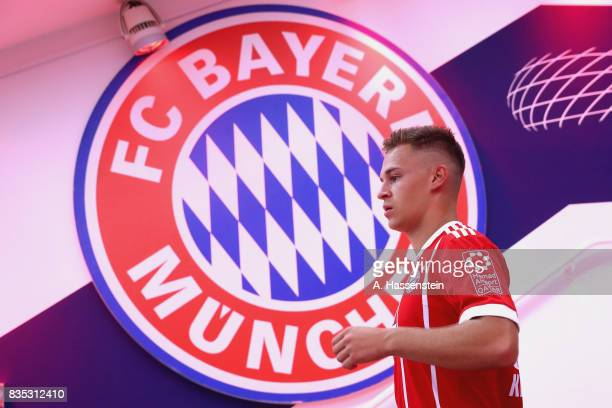 Joshua Kimmich of Bayern Muenchen looks on at the players tunnel prior to the Bundesliga match between FC Bayern Muenchen and Bayer 04 Leverkusen at...