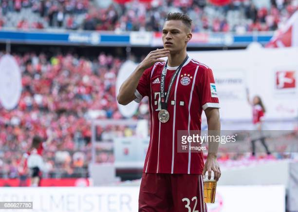 Joshua Kimmich of Bayern Muenchen looks on during the Bundesliga match between Bayern Muenchen and SC Freiburg at Allianz Arena on May 20 2017 in...