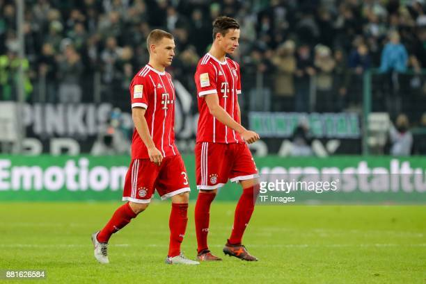 Joshua Kimmich of Bayern Muenchen Marco Friedl of Bayern Muenchen looks dejected during the Bundesliga match between Borussia Moenchengladbach and FC...