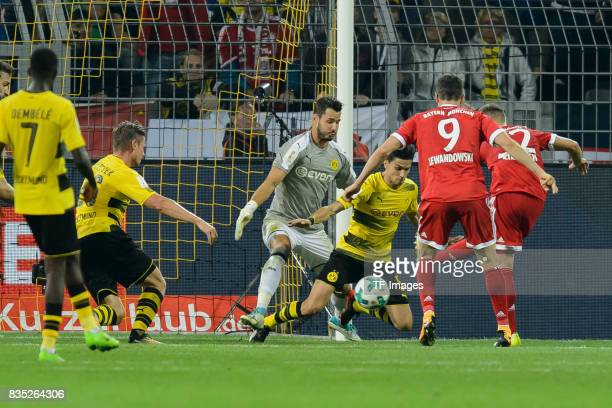 Joshua Kimmich of Bayern Muenchen scores a goal during the DFL Supercup 2017 match between Borussia Dortmund and Bayern Muenchen at Signal Iduna Park...