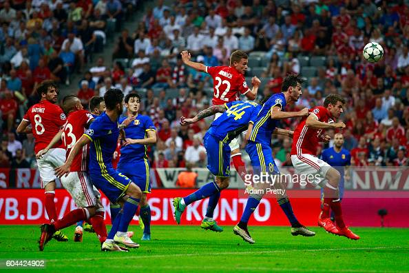 Joshua Kimmich of Bayern Muenchen scores his second and his sides fourth goal during the UEFA Champions League Group D match between FC Bayern...