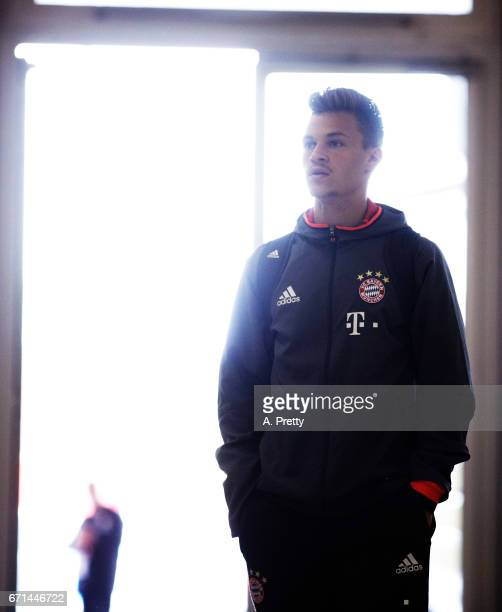 Joshua Kimmich of Bayern Munich arrives for the Bundesliga match between Bayern Muenchen and 1 FSV Mainz 05 at Allianz Arena on April 22 2017 in...