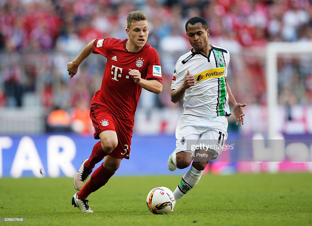 Joshua Kimmich of Bayern Munich in action during the Bundesliga match between FC Bayern Muenchen and Borussia Moenchengladbach on April 30, 2016 in Munich, Bavaria.